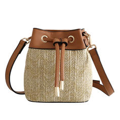 Unique PU/Linen Crossbody Bags/Beach Bags/Bucket Bags