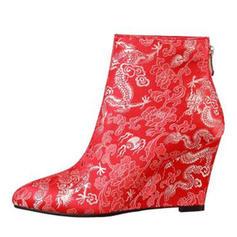 Femmes Similicuir Talon compensé Escarpins Compensée Bottes avec Une fleur chaussures
