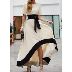 Color Block Short Sleeves A-line Asymmetrical Party/Elegant Skater Dresses