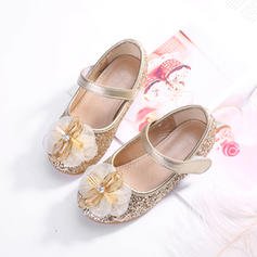 Girl's Sparkling Glitter Round Toe Closed Toe Flats With Bowknot Velcro