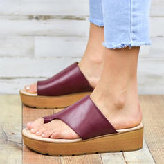 Femmes PU Talon compensé Sandales Chaussures plates Chaussons avec Autres chaussures