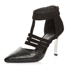 Femmes Similicuir Talon stiletto Sandales Escarpins Bout fermé avec Ouvertes chaussures