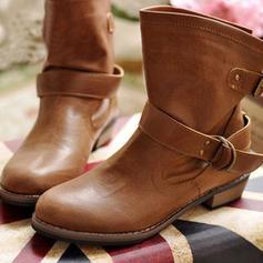 Frauen PU Niederiger Absatz Absatzschuhe Geschlossene Zehe Stiefel Stiefel-Wadenlang mit Schnalle Schuhe