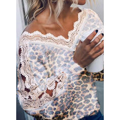 Lace Leopard V-Neck Casual Sweaters