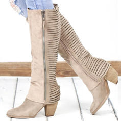 Női PU Tűsarok Chunky sarok Mid-Calf Csizma -Val Cipzár cipő