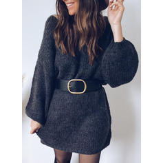Solid/Chunky knit Long Sleeves Shift Above Knee Casual Dresses