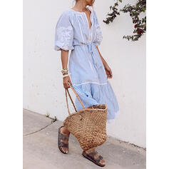 Print/Striped 1/2 Sleeves A-line Casual/Vacation Midi Dresses