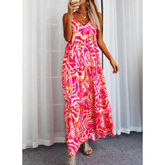 Print Sleeveless Shift Slip Casual Maxi Dresses