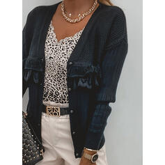Solid Blonder V-hals Casual Cardigan