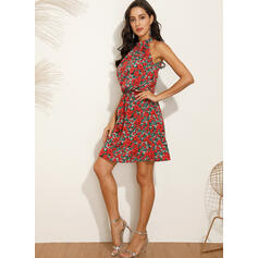 Print/Floral Sleeveless A-line Above Knee Casual/Vacation Skater Dresses