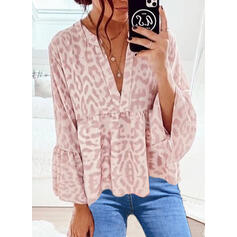 Leopard V-Neck Flare Sleeve Long Sleeves Casual Blouses
