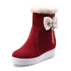 Femmes Suède Talon bas Bout fermé Bottes Bottes mi-mollets Bottes neige avec Bowknot Perle d'imitation Tassel chaussures