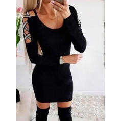 Solid Long Sleeves/Cold Shoulder Sleeve Bodycon Above Knee Little Black/Casual Dresses