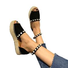 De mujer PU Tacón plano Planos con Perlas de imitación Hebilla zapatos