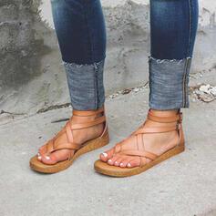 Dla kobiet PU Płaski Obcas Sandały Plaskie Otwarty Nosek Buta Z Klamra obuwie