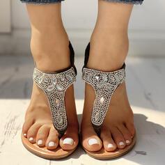 Women's PU Flat Heel Sandals Peep Toe With Rhinestone Elastic Band shoes