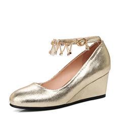 Femmes PU Talon compensé Bout fermé Compensée avec Chaîne chaussures