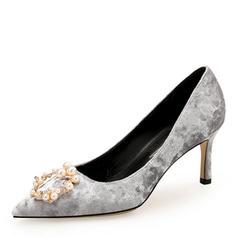 Femmes Suède Talon stiletto Escarpins Bout fermé avec Strass Perle d'imitation chaussures