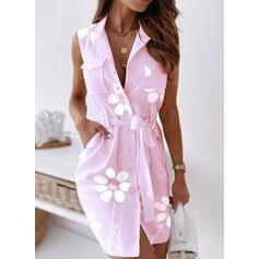 Estampado/Floral Sem mangas Bainha Acima do Joelho Casual Camisa Vestidos