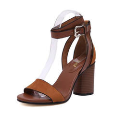 Women's Real Leather Chunky Heel Sandals Pumps Peep Toe With Buckle shoes