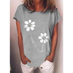 Bloemen Print Letter Ronde Hals Korte Mouwen T-shirts