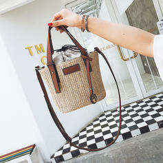 Solid Color Straw Shoulder Bags/Beach Bags/Bucket Bags