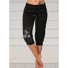 Tisk Pampeliška Capris Neformální Plus velikost handsstring Kalhoty