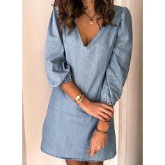 Solid 3/4 Sleeves/Puff Sleeves Shift Above Knee Casual/Elegant Dresses