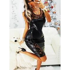 レース/固体 ノースリーブ ボディコンドレス 膝丈 リトルブラックドレス/パーティー/エレガント ドレス