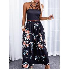 Impresión/Floral/Escotado por detrás Sin mangas Acampanado Patinador Casual/Vacaciones Maxi Vestidos