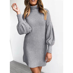 Solid Long Sleeves/Puff Sleeves Shift Above Knee Casual Dresses