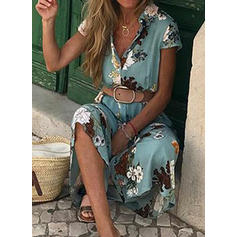 Print/Floral Short Sleeves A-line Maxi Casual/Vacation Dresses