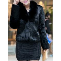 Faux Fur Long Sleeves Plain Slim Fit Coats Faux Fur Coats