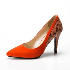 Women's Suede Leatherette Stiletto Heel Pumps Closed Toe shoes