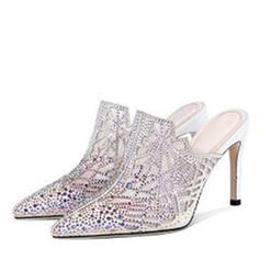 Women's Microfiber Leather Mesh Stiletto Heel Pumps Closed Toe Slippers With Rhinestone shoes