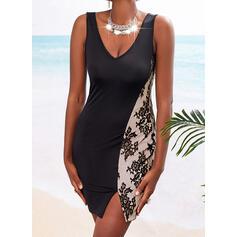 Impresión Sin mangas Ajustado Sobre la Rodilla Elegante Vestidos