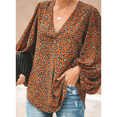 Leopard V-Neck Lantern Sleeve Long Sleeves Casual Blouses