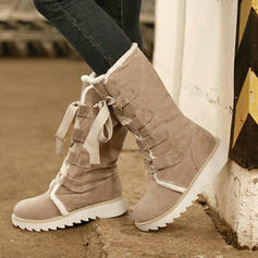 Women's Fabric Low Heel Mid-Calf Boots Snow Boots With Lace-up shoes
