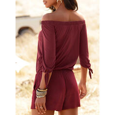 Solid Off the Shoulder 3/4 Sleeves Casual Vacation Romper