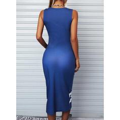 Print Sleeveless Bodycon Knee Length Casual Dresses