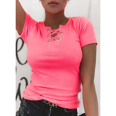 Einfarbig V-Ausschnitt Kurze Ärmel Freizeit Basic Stricken Blusen