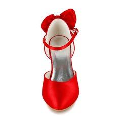 Frauen Satin Stöckel Absatz Geschlossene Zehe Absatzschuhe mit Bowknot