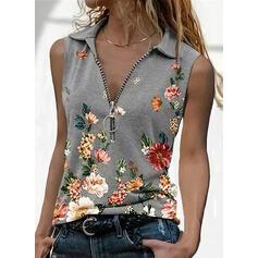 Print Floral Lapel Sleeveless Casual Tank Tops