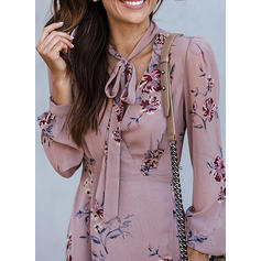 Print/Floral Long Sleeves A-line Casual Midi Dresses
