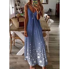 Print Sleeveless Shift Slip Casual/Vacation Maxi Dresses