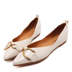 Femmes Similicuir Talon plat Chaussures plates Bout fermé avec Boutons chaussures