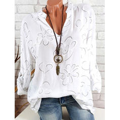Floral V Neck Long Sleeves Casual Elegant Blouses