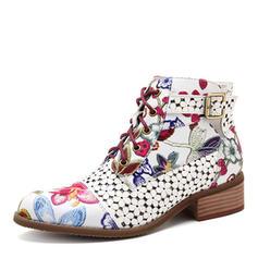 Vrouwen PU Flat Heel Flats Closed Toe Laarzen Half-Kuit Laarzen met Gesp Rits Vastrijgen schoenen