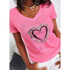 Print Sequins Heart V-Neck Short Sleeves Casual T-shirts