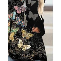 Floral Animal Print Round Neck Long Sleeves Sweatshirt